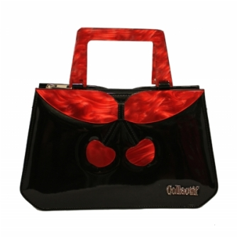 debbie cherry bag black front red handles