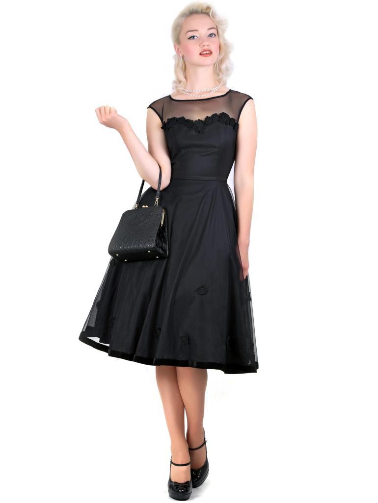 Faye Floral Doll Dress Black
