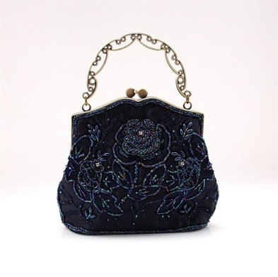 Free-Shipping-Women-s-Satin-Polyester-Sequin-Beaded-Handbag-Makeup-Bag-Wedding-Evening-Bag-Navy-Blue