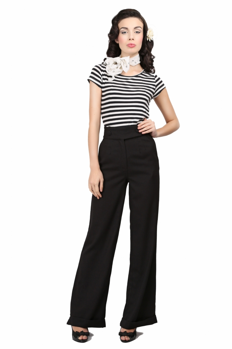 Lorenza Plain Swing Trousers Black