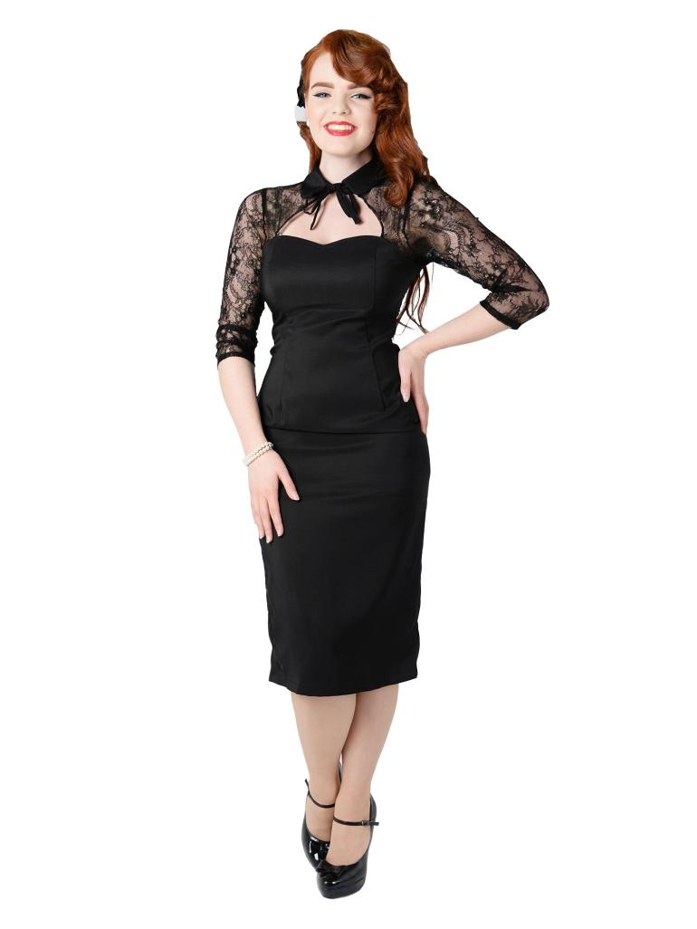 Renee Lace Pencil Dress Black Front2W