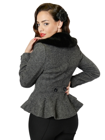 Deana Peplum Jacket Charcoal BackW (2)