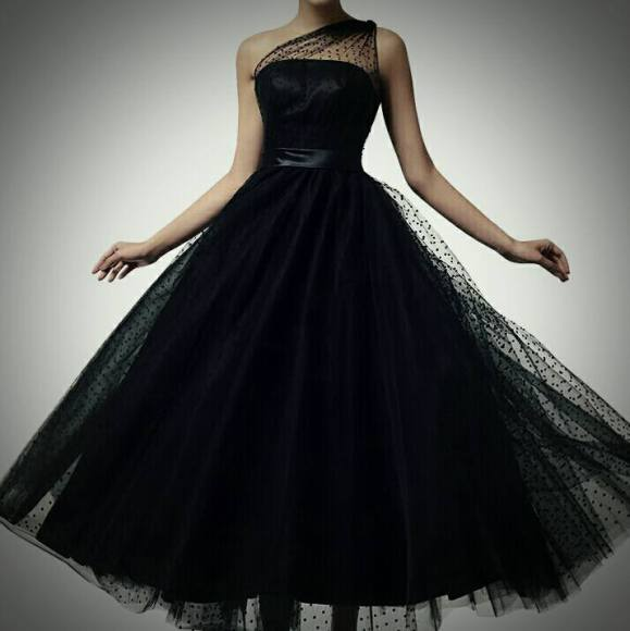 tulle black satin
