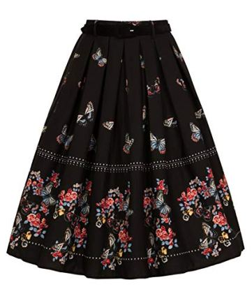Floral 50s Style Pleated Skirt noire